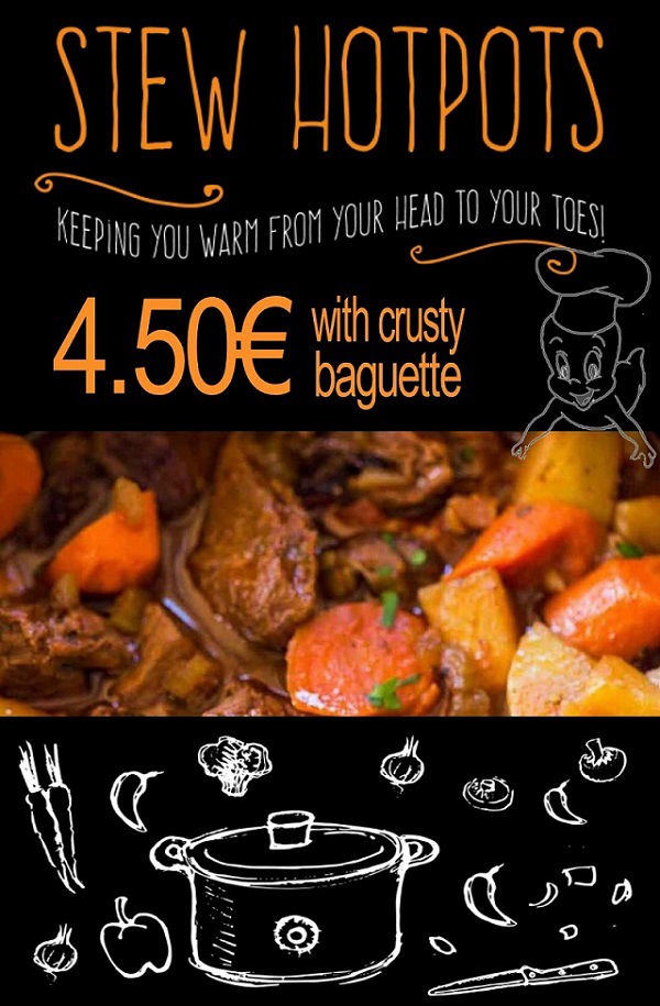 Only at Casper´s Benidorm: Slow cooked Winter Stew Hotpot with Crusty Bread only 4.50€