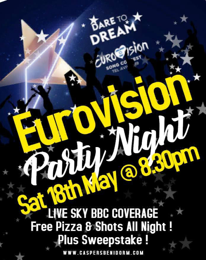 Eurovision in Benidorm Party Night Saturday May 18th @ 20:30